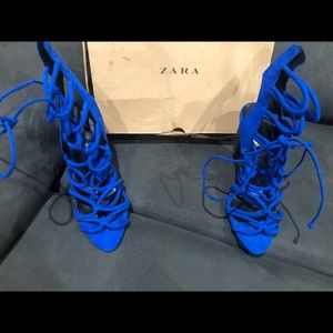 ZARA ROYAL BLUE LACE UP HEELS NEW COLLECTION